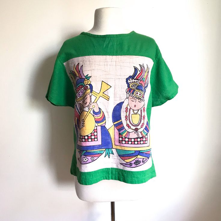Vintage Clothing. Bright Green Linen Painted Asian Court Jester Playing Mandolin Caricature Batwing T-shirt. Multi-colour Tee. Size Med/Lrg by MarlaHomanCollection on Etsy https://www.etsy.com/ca/listing/566419271/vintage-clothing-bright-green-linen
