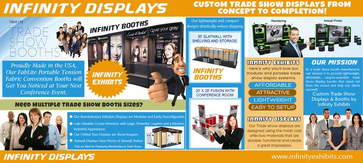 Check this link right here https://pinterest.com/infinitybooths/ for more information on Infinity Booths. To design an Infinity Booths, exhibitors usually use the services of their in-house creative resources or seek the services of specialized professional exhibit booth service providers. The booth services offered by professional providers include a gamut of items, including lighting and display options.