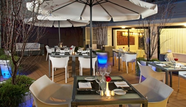 After Hotel Montevideo: Morado restaurant serves a mix of international and Uruguayan dishes in indoor/outdoor setting.