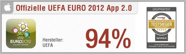 """App-Test: Offizielle UEFA EURO 2012 App - Die """"Offizielle UEFA EURO 2012 App"""" für das iPhone beinhaltet täglich aktuelle News rund um die Fußball-Europameisterschaft 2012. Zudem sind ein Live-Ticker aller Spiele, eine detaillierte Tabelle, ein Spielplan sowie ein Videocenter enthalten, in dem man sich Interviews und Spielzusammenfassungen anschauen kann. Weitere Infos auf unserem Portal: http://www.apptesting.de/"""