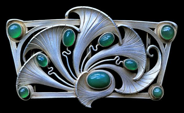 Art Nouveau buckle, silver, chalcedony, Germany c. 1900