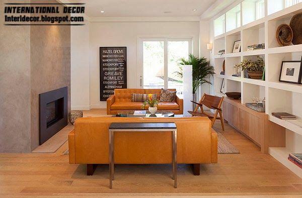Vintage leather sofa mustard, Fashion color trends 2014 interior design decor