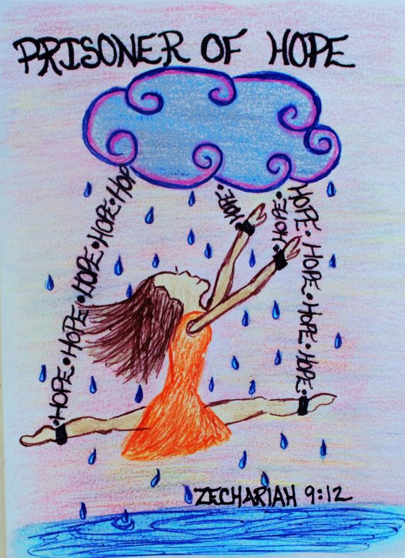 Scripture Doodle Prisoner of Hope Zechariah 9:12 by Acrylics139