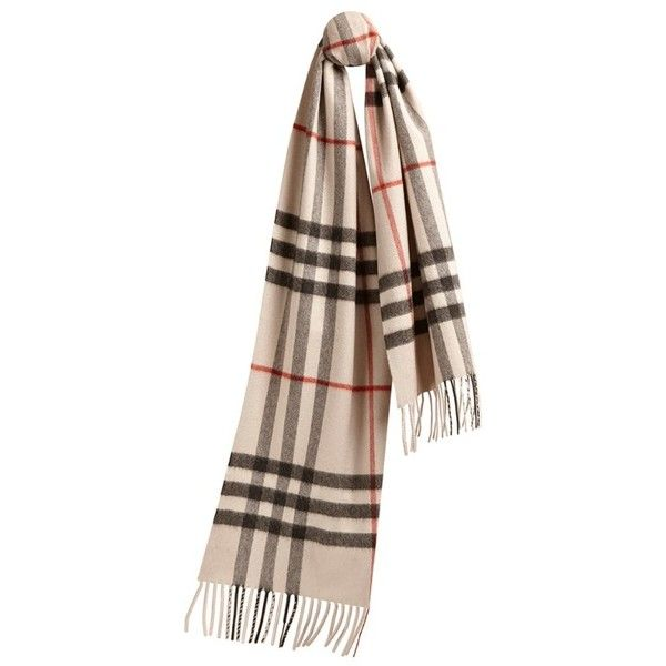 Burberry Classic Cashmere Scarf in Heritage Check found on Polyvore featuring accessories, scarves, burberry shawl, burberry scarves, burberry, cashmere shawl and woven scarves