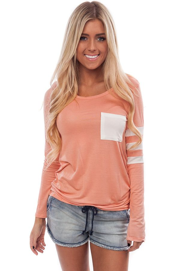 Lime Lush Boutique - Peach Top with Striped Sleeve Detail, $29.99 (http://www.limelush.com/peach-top-with-striped-sleeve-detail/) summerlook #instalook #streetstyle #fashiongram #trendy  #sisters #summer2015 #styledivas #instastyle #fashionsense #fashion2015
