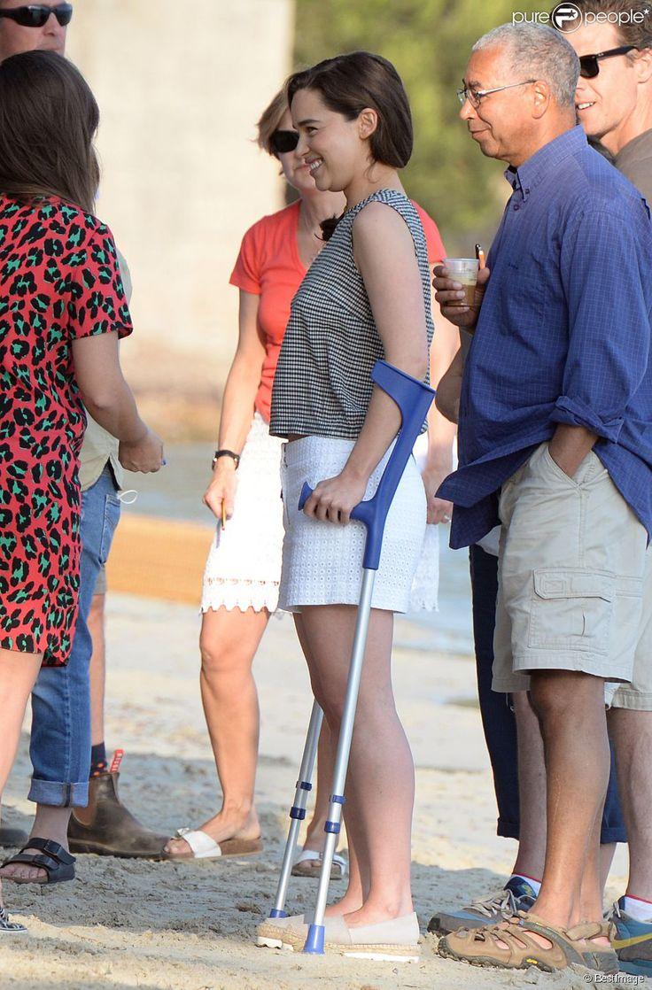 """Exclusif - Sam Claflin et Emilia Clarke sur le tournage du film """"Me before you"""" à Palma..."""
