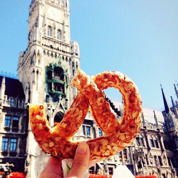 Pretzel in Marienplatz in #munich #germany - - Photo GirlEatWorld l #food #pretzel ##travel #travelphotography #mouthwatering #girleatworld