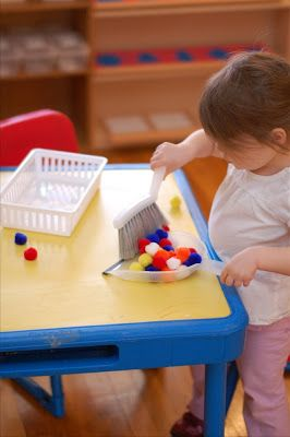 Our Montessori Story: New Practical Life Activity. Pom Pom Sweep.