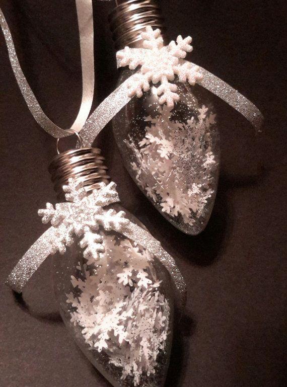 6 Snowflake Christmas Ornaments  Vintage Light Bulb  by JoKaLu