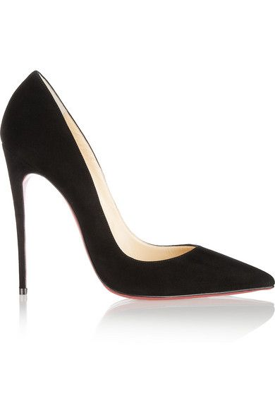 Christian Louboutin So Kate 120 Suede Pointed Toe Red Sole Pumps Black on sale online