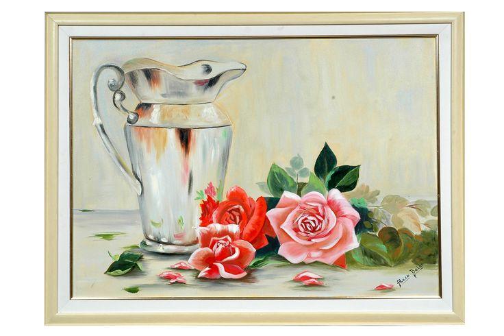 Pintura tela jarra de prata com rosas