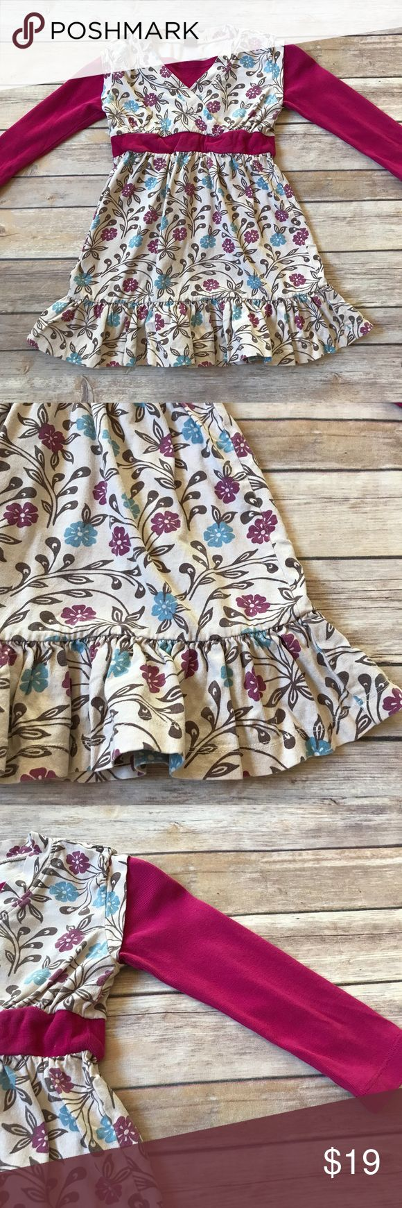 Tea Collection Size 4 Tea Collection long sleeve floral print dress. Crossover chest. Beautiful neutral colors with magenta trim and sleeves. 100% cotton. No stains. Very good condition. Typical light fading for this brand. Tea Collection Dresses