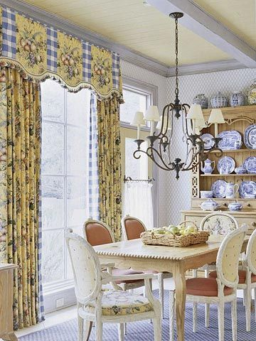 Blue And Yellow Country French Dining Space