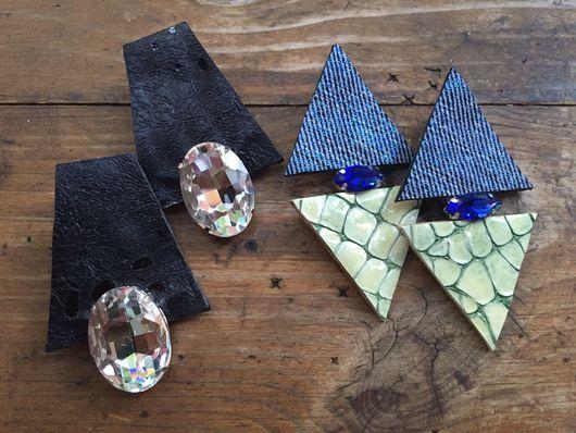 Серьги ручной работы. Ярмарка Мастеров - ручная работа. Купить Кожаные серьги с кристаллами. Handmade. Кожаные украшения, серьги кожаные