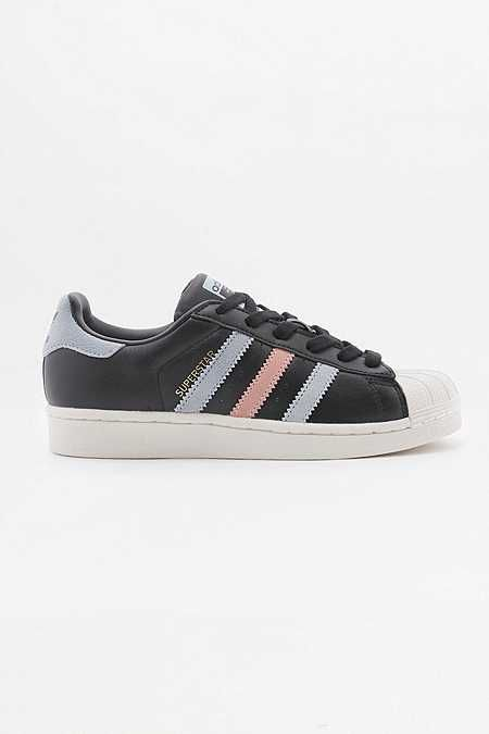 adidas Originals Superstar Black With Blue And Pink Stripes Trainers - Urban Outfitters