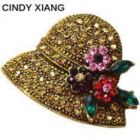 Синди xiang 2 цвета выбирают горный хрусталь цветок шляпа Броши богемный Стиль Винтаж брошь модные Шпильки и Броши Новый 2017
