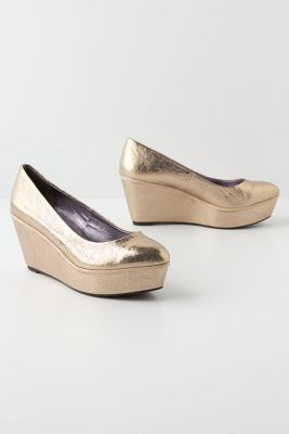 #gold wedge shoes