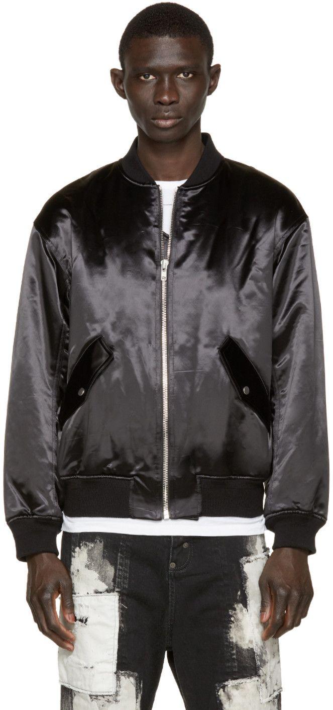 Alexander Wang - Black Nylon Tuxedo Bomber Jacket