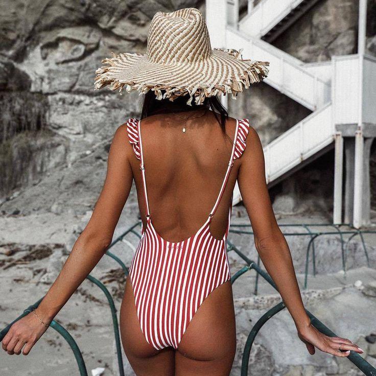 ruffle strap backless one piece swimsuit red stripes one piece swimwear low back…