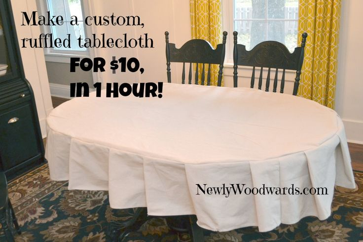 Make your own custom ruffled tablecloth in an hour for $10.  (Hint: This project uses a single drop cloth.)