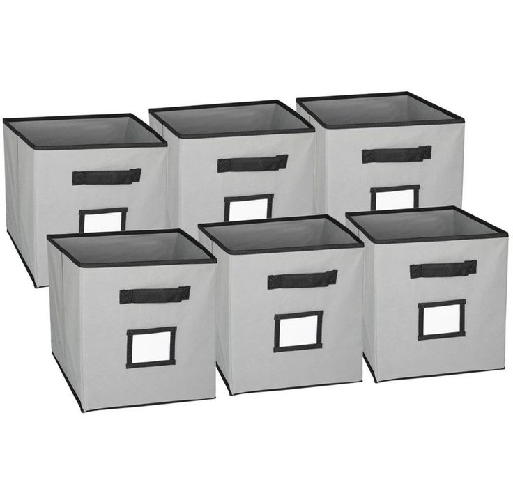 Hangorize Collapsible Fabric Cubicle Storage Bins, Gray, 6 Pack w/Handy Label #Hangorize