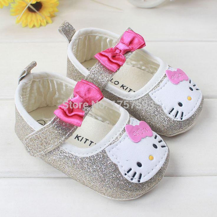 Hello kitty ayakkabı bebek pembe gümüş bahar Toddler mokasen beyaz ayakkabı yeni doğan bebeğin ilk yürüyüşe bebek ayakkabıları 0~18months(China (Mainland))