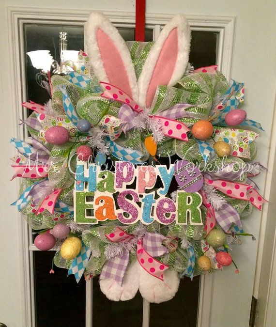 Deco mesh Easter bunny wreath with bunny by MrsChristmasWorkshop http://facebook.com/MrsChristmasWorkshop