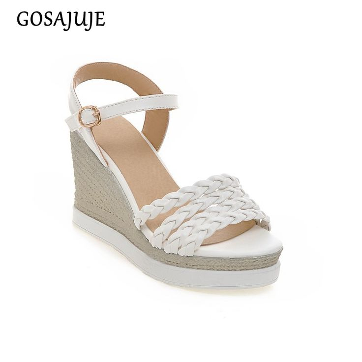 GOSAJUJE 2017new summer sandals wedges shoes women european style platform fashion sexy non-slip fish mouth student shoes hot