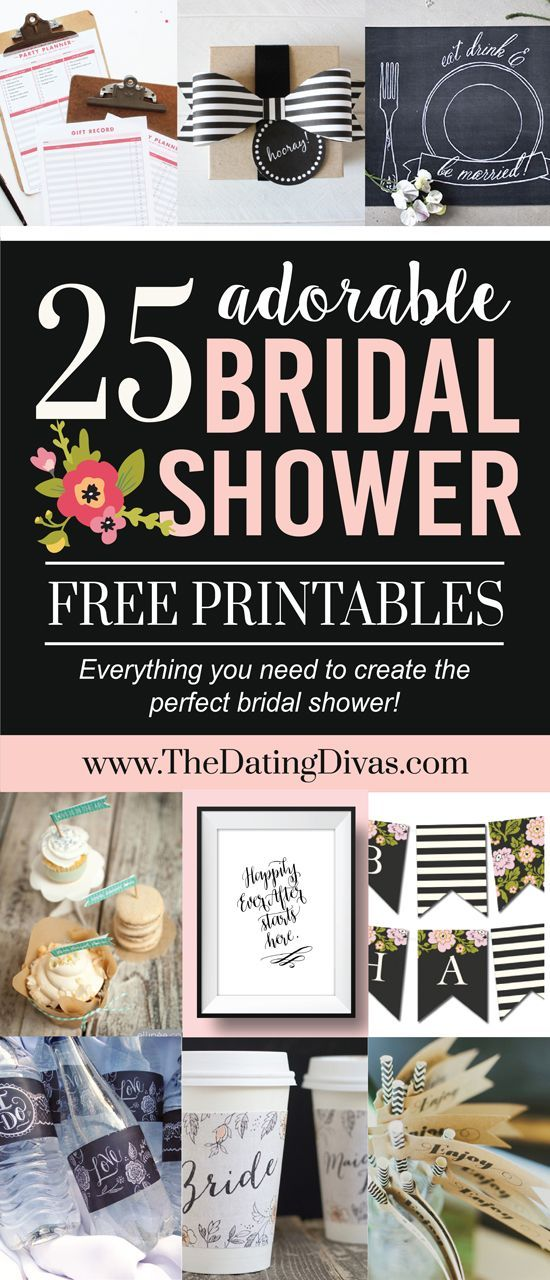 25 Completely FREE Bridal Shower Printables! This is so awesome!!! Everything I need to put on a bridal shower for FREE! - www.TheDatingDivas.com