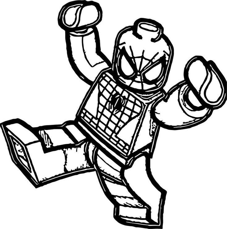 Раскраска картинка лего человек паук