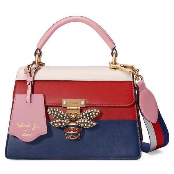 Women's Gucci Queen Margaret Top Handle Leather Satchel featuring polyvore women's fashion bags handbags real leather purses handbag satchel leather purses gucci purse leather tote shopper
