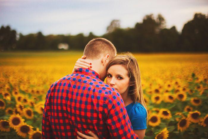 Sunflower field engagement photos