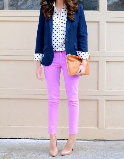 Navy Blazer, Polka Dot Shirt, Purple Pants, and Nude Heels. Perfect outfit!