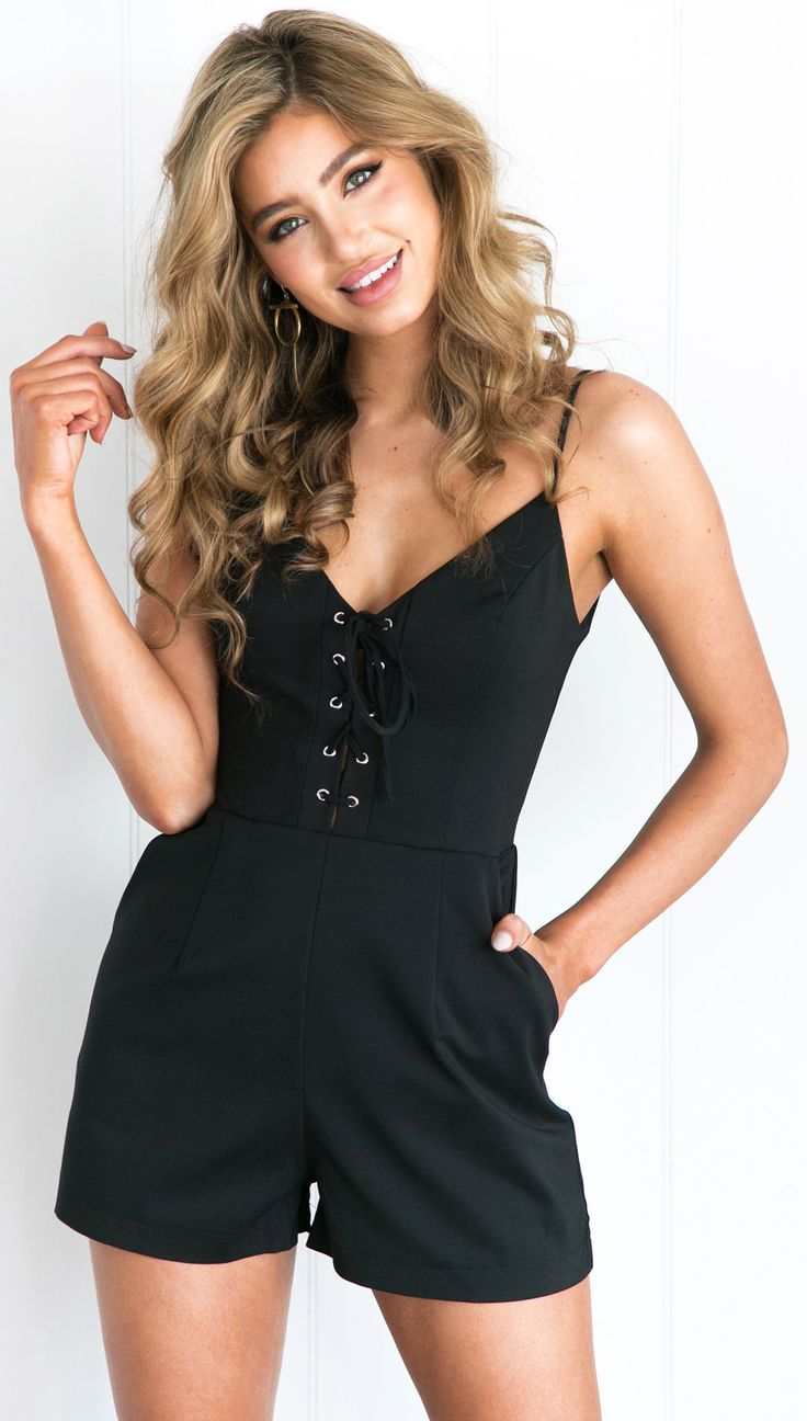 Charlee Cooper Black Lace Up Strappy Playsuit