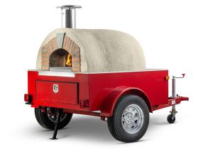 A Forno Bravo pizza oven on a mobile catering trailer from Fire Within.