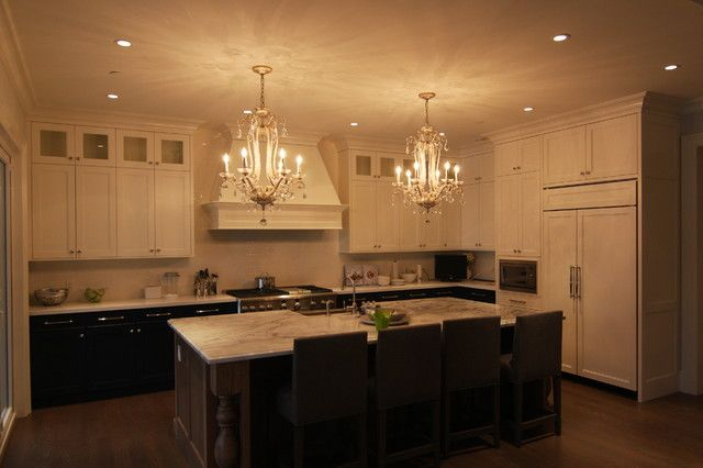 white uppers, dark bottom cabinets with the upper cabinets (with glass fronts) as an add on