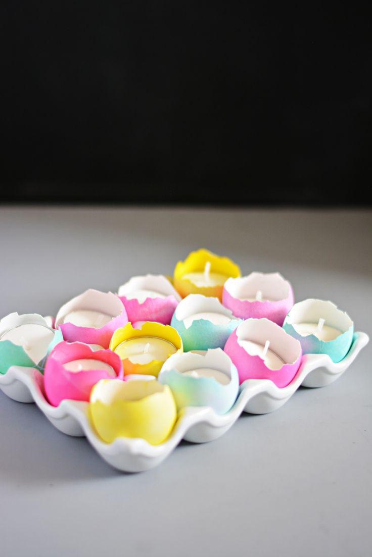 DIY Eggshell Tealight Centerpiece by littleinspiration #DIY #Easter #Centerpiece #Eggshell