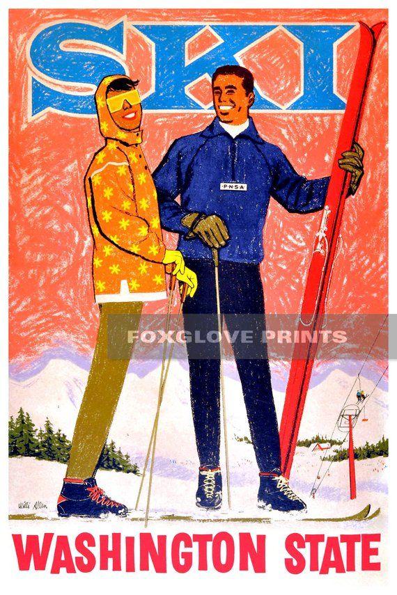 Winter in Poland Ski  Europe Vintage Travel Advertisement Art Poster Print