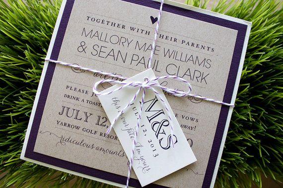 Custom Wedding Invitation: fun. stylish. contemporary. twine. tag. purple. kraft. ivory. pocket.