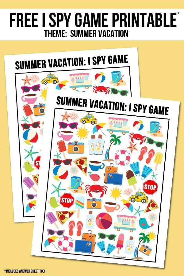 best kids fun images crafts for kids toddler   summer vacation i spy printable answer key included as well