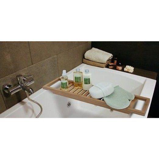Bamboo bath - http://www.amazon.co.uk/Bathtub-caddy-bamboo-64-15/dp/B0042SPAHY/ref=pd_cp_kh_0