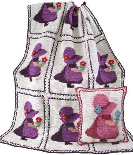 Sunbonnet Sue Afghan and Pillow Crochet Patterns