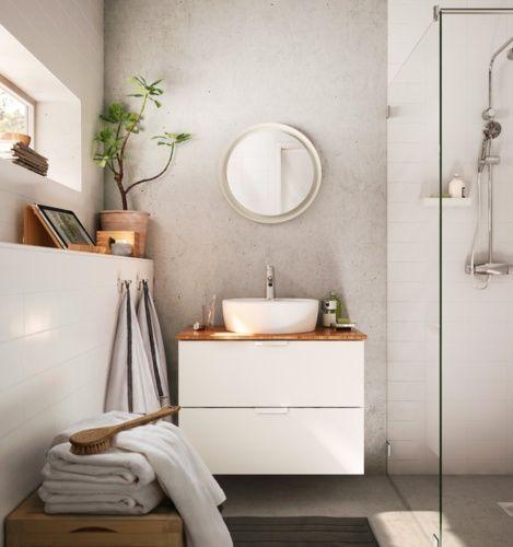 IKEA Catalog 2016 Bathroom vanity and gray wall, warm countertop