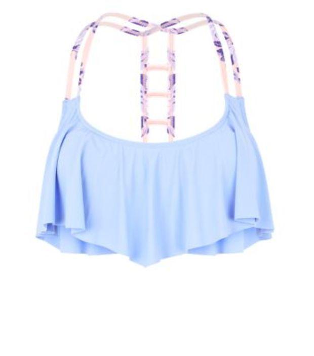 Lilac Strap Black Flounce Bikini Top