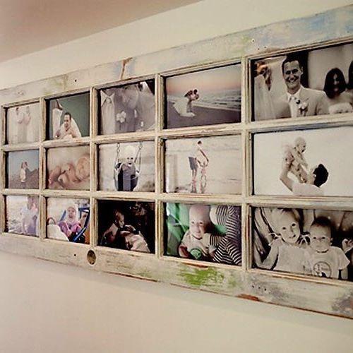 Réutilisez une vieille porte fenêtre en bois pour créer un cadre photo géant. ♻…