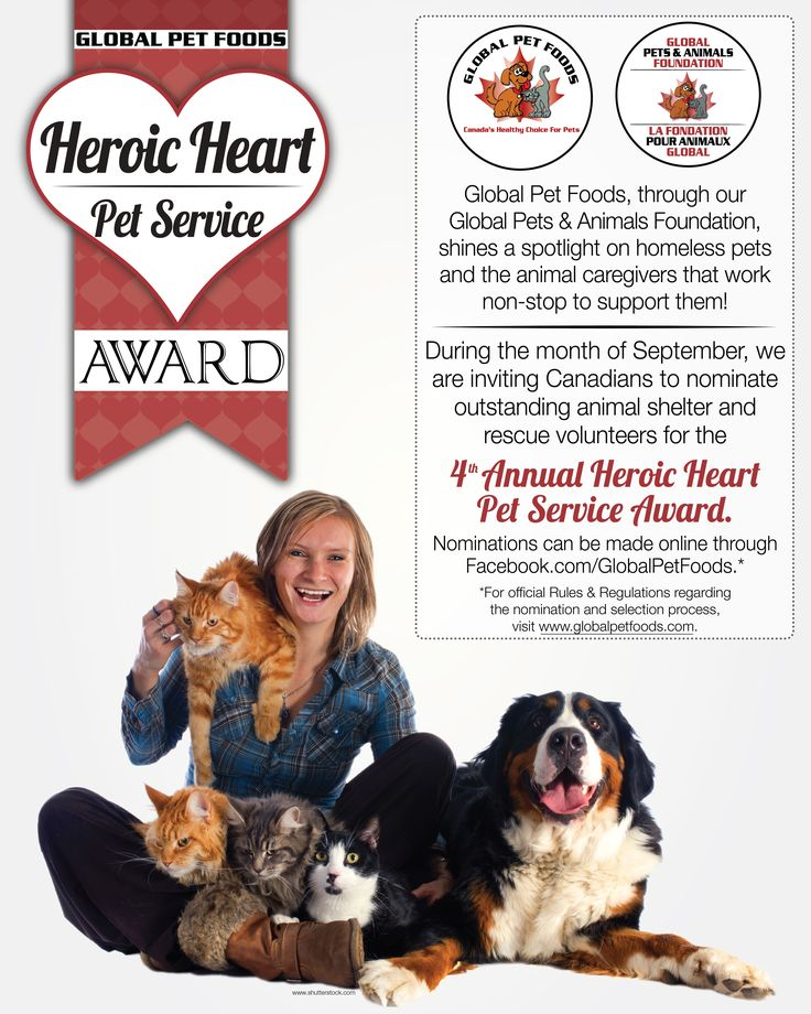 Who's your Pet Hero? Nominate your pet hero who works tirelessly for an animal shelter or animal rescue group & they could receive a $1,000 cheque for expenses & 12 large bags of pet food! Fill out an online ballot & share a brief story describing how the Nominee has demonstrated outstanding care & compassion to homeless animals and how the $1,000 donation will make a difference to the nominees' shelter or rescue.  Nominations close September 30, 2015.