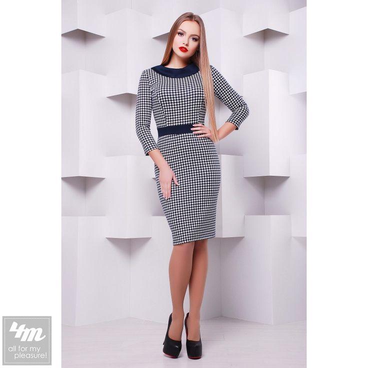 Платье Glem «Мемфис Д/Р» (Лапка крупная - синяя отделка) http://lnk.al/3Boe  Состав: французский трикотаж (40% шерсть, 60% полиэстер)