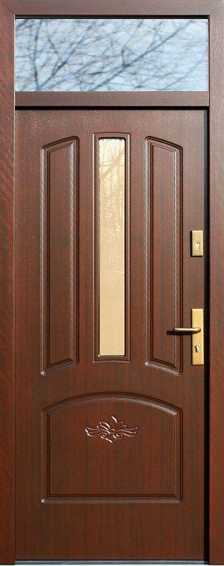 Drzwi z naświetlem górnym z szybą wzór 552,5s+d1 w kolorze orzech.