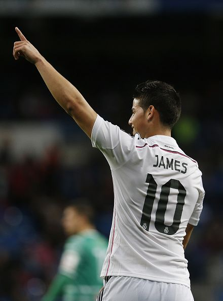 James Rodriguez of Real Madrid celebrates after scoring during the Copa del Rey, round of 32 second leg match between Real Madrid and UD Cornella at Estadio Santiago Bernabeu on December 2, 2014 in Madrid, Spain