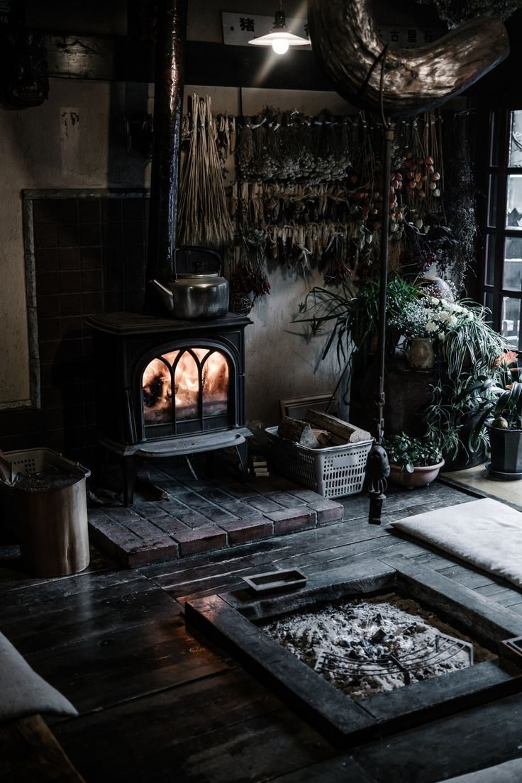 Japanese minka hearth, and western stove. ✸This Old Stomping Ground✸, eredion: by Beth Kirby